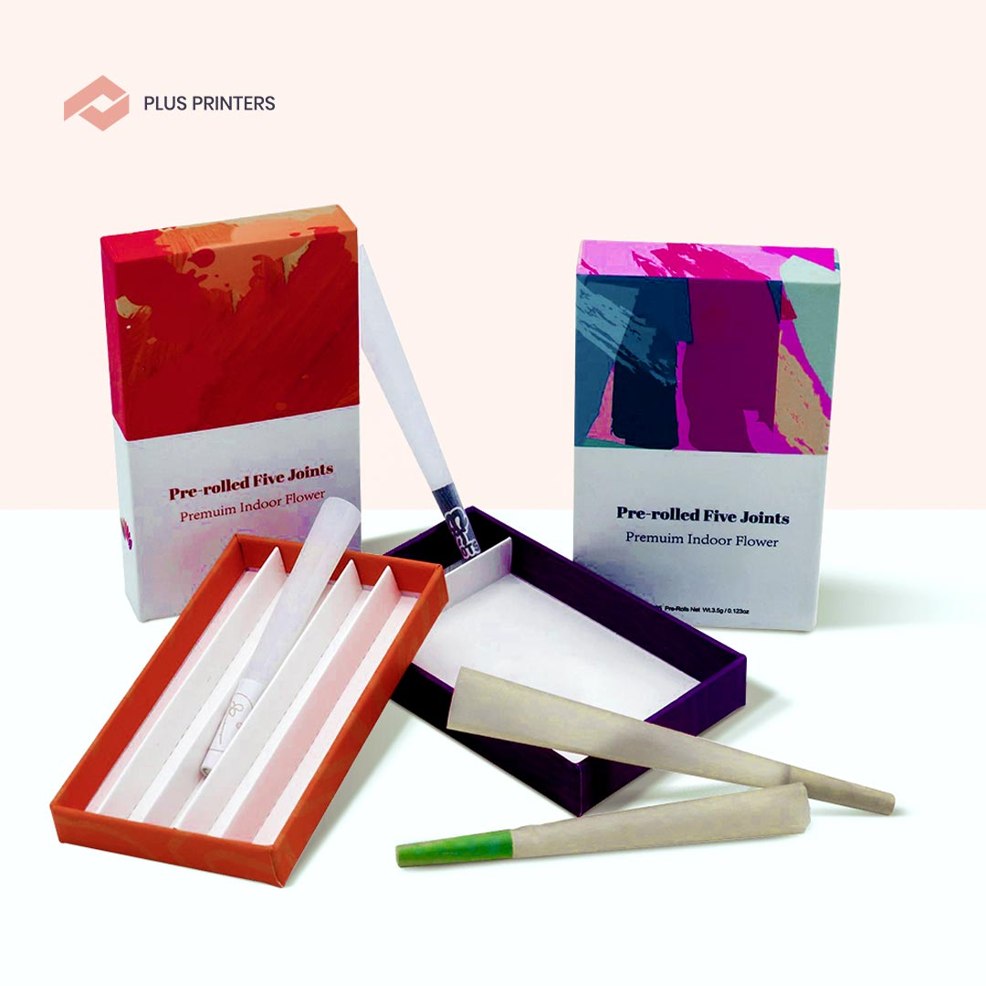 Customized Pre Roll Packaging Boxes by www.plusprinters.com packaging company usa
